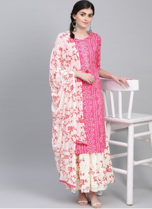 Cotton Printed Readymade Suit in Pink
