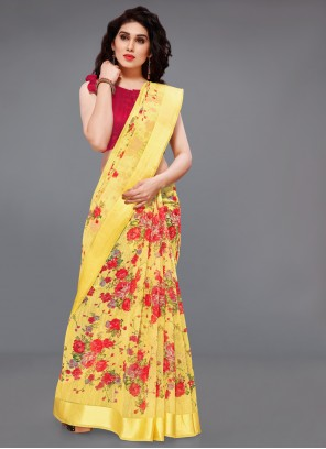 Cotton Printed Red and Yellow Saree