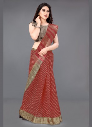 Cotton Printed Red Contemporary Saree