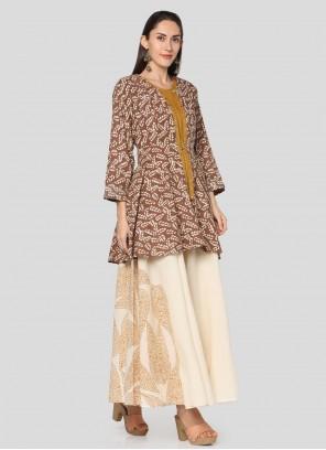 Cotton Printed Salwar Suit in Mustard