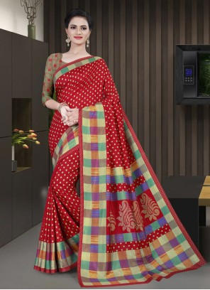 Cotton Printed Maroon Saree