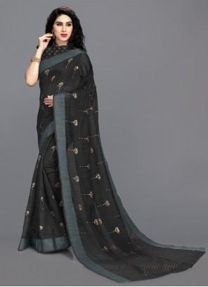 Black Cotton Printed Saree