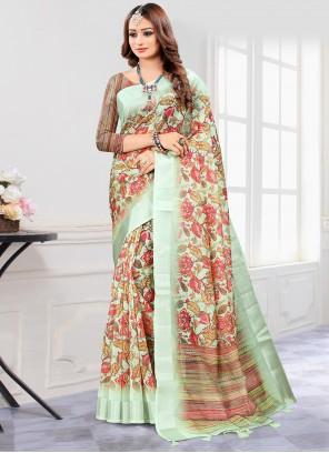 Green Cotton Casual Printed Saree