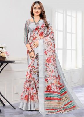 Grey Cotton Digital Printed Saree