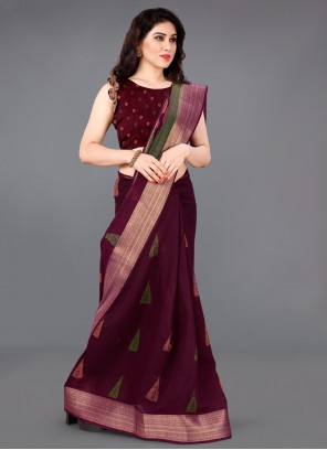 Wine Cotton Printed Saree For Casual