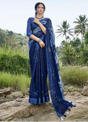 Cotton Printed Saree in Blue