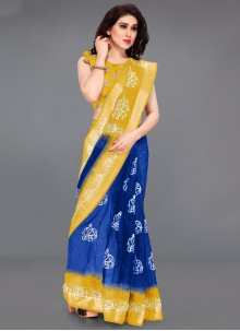 Cotton Printed Saree in Blue and Yellow