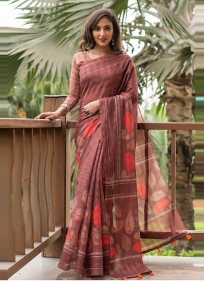 Cotton Printed Saree in Brown