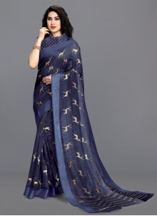 Cotton Printed Saree in Navy Blue