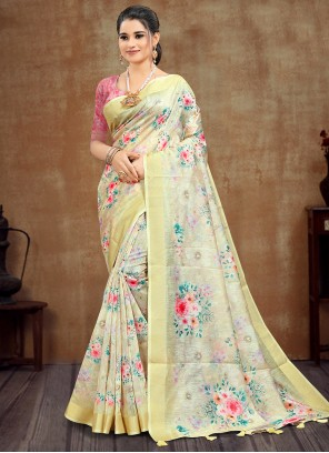 Cotton Printed Saree in Yellow