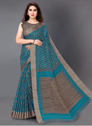 Cotton Printed Turquoise Designer Saree