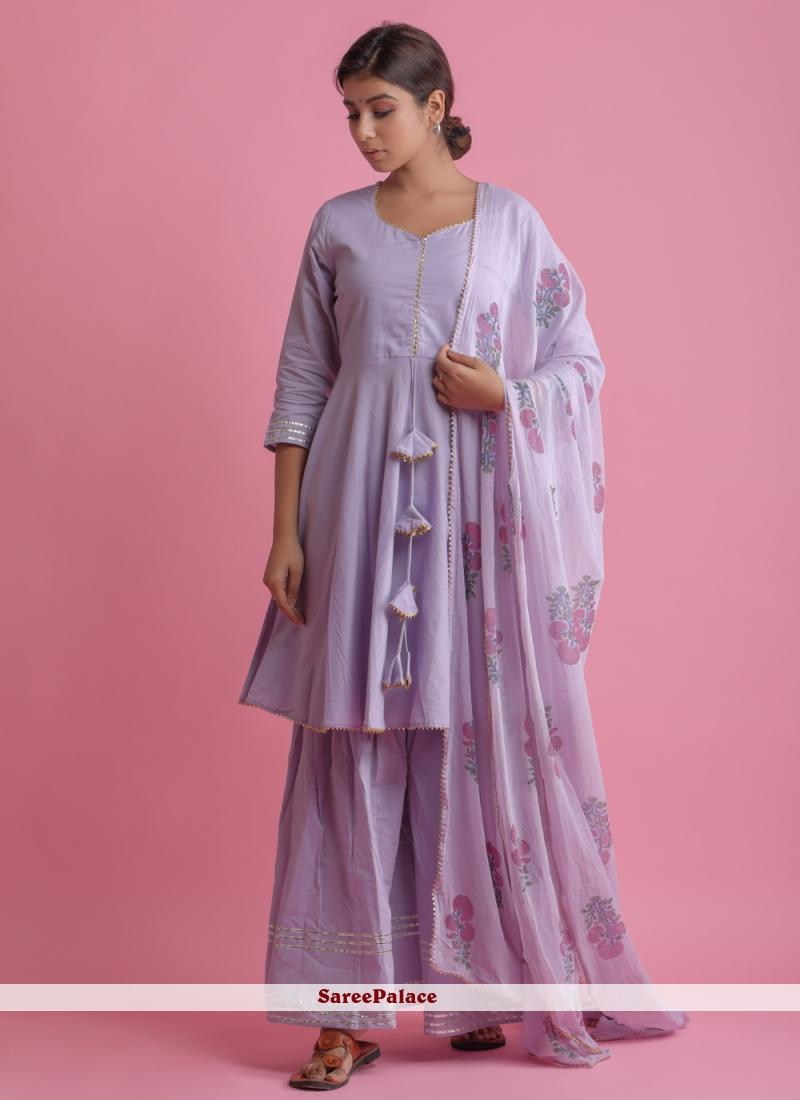 Purple Cotton Readymade Suit