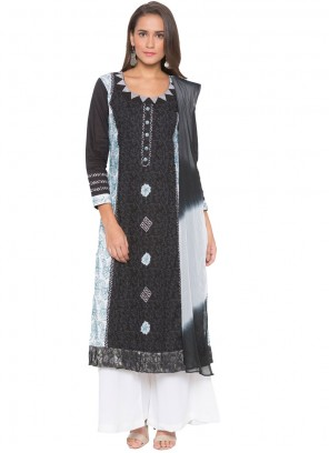 Cotton Readymade Suit in Black