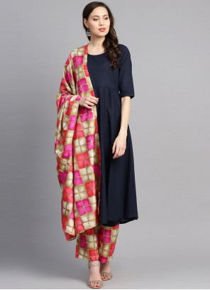 Cotton Readymade Suit in Navy Blue