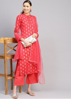 Cotton Readymade Suit in Red