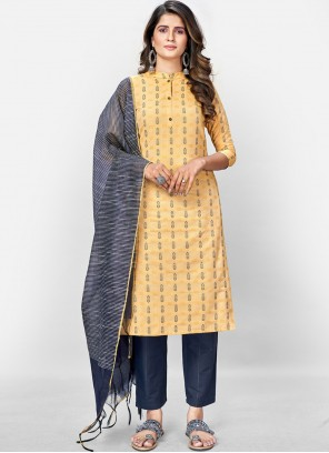 Cotton Readymade Suit in Yellow