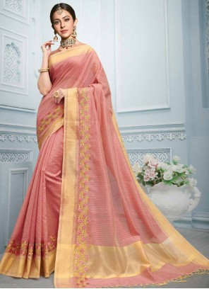 Pink Cotton Reception Classic Saree