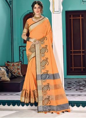 Orange Cotton Reception Traditional Saree