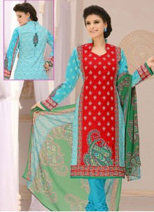 Cotton Printed Red Churidar Suit