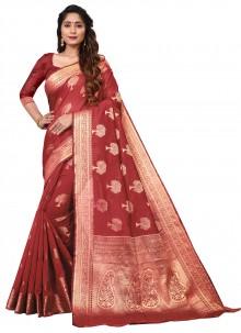 Cotton Red Classic Saree