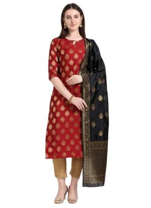 Cotton Red Embroidered Designer Salwar Kameez