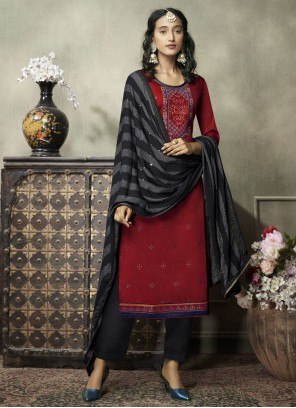 Cotton Red Embroidered Designer Suit