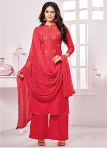 Cotton Red Embroidered Palazzo Suit