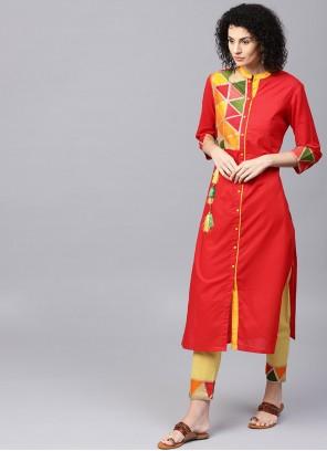 Cotton Red Embroidered Salwar Kameez