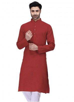 Cotton Red Kurta