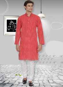 Cotton Red Kurta Pyjama