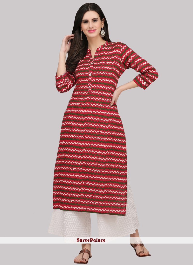 Cotton Red Party Wear Kurti