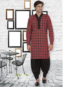 Cotton Red Patchwork Kurta Pyjama