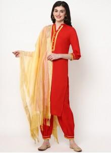 Cotton Red Plain Bollywood Salwar Kameez