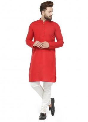 Cotton Red Plain Kurta Pyjama