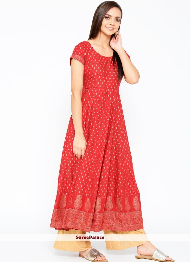 Cotton Red Print Designer Kurti