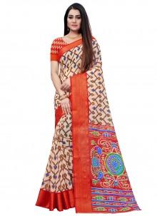 Cotton Red Printed Saree