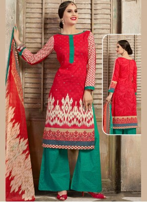 Cotton Red Thread Work Palazzo Salwar Kameez