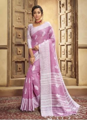 Cotton Resham Pink Classic Designer Saree
