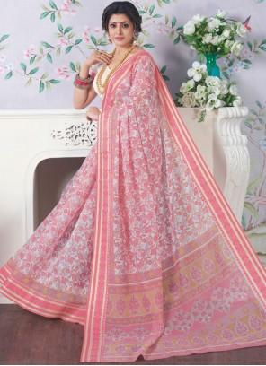 Cotton Rose Pink Casual Saree