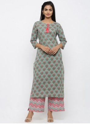 Teal Cotton Salwar Suit