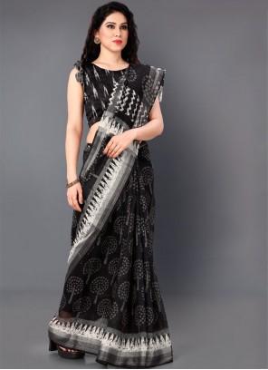Cotton Saree in Black and White