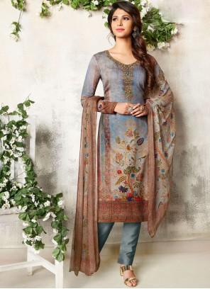Cotton Satin Abstract Print Churidar Designer Suit in Multi Colour