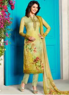 Cotton Satin Abstract Print Churidar Designer Suit in Yellow