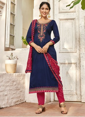 Cotton Satin Blue Embroidered Pant Style Suit
