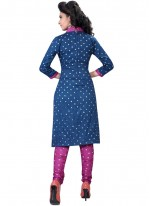 Cotton Satin Blue Print Work Churidar Suit