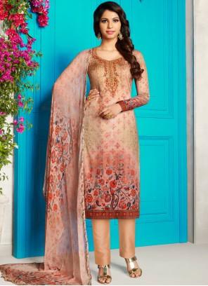Multi Colour Cotton Satin Churidar Designer Suit