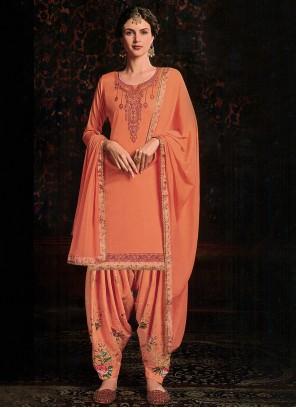 Cotton Satin Designer Orange Salwar Kameez