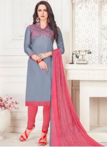 Cotton Satin Grey Embroidered Churidar Suit