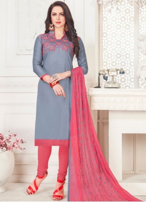 Cotton Satin Grey Embroidered Churidar Suit