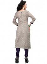 Cotton Satin Grey Print Work Churidar Suit